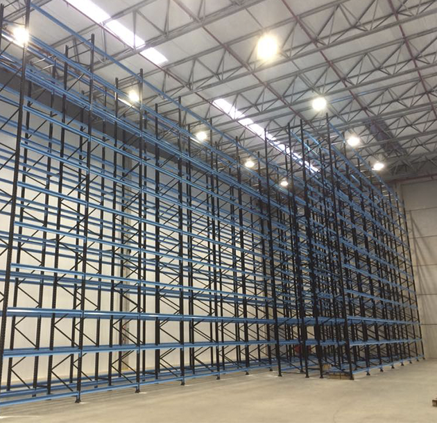 Estrutura tipo porta pallets para armazenamento de caixas